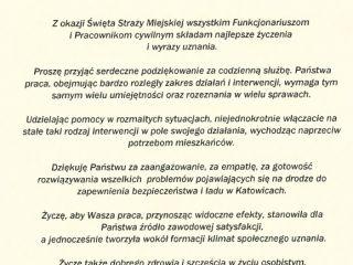 Życzenia Komendanta Straży Miejskiej w Katowicach z okazji Święta Straży Miejskiej